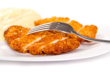 Fried chicken nugget and mashed potatoes photo