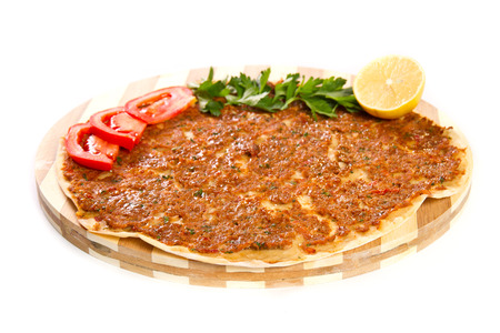 Turkish pizza on a wooden board