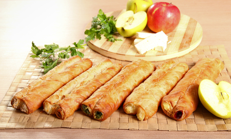 fillings: Pastry rolls with different fillings Stock Photo