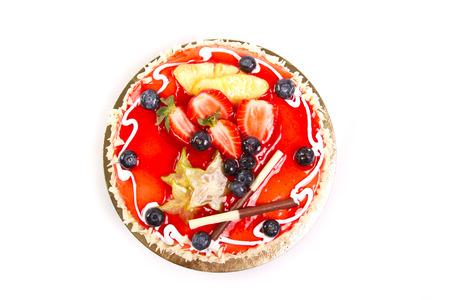 chocolaty: Cake with fresh fruit decoration Stock Photo
