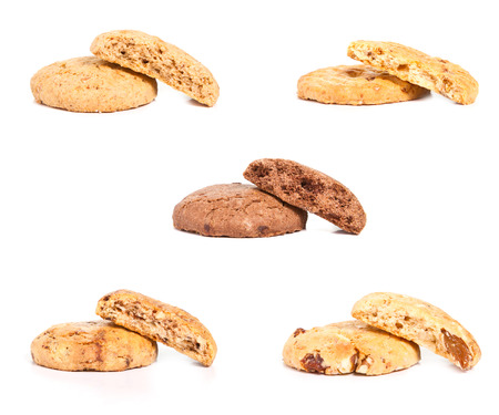 chocolate chips cookies: Homemade cookies collage on white Stock Photo