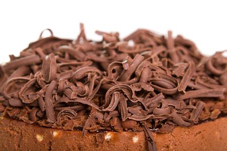 Chocolate cake with decorative chocolate shavingsflakes Stock Photo