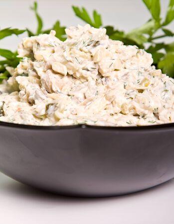 Mushroom salad with mayonaise and dill