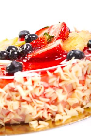 Cake with fresh fruit decoration Stock Photo