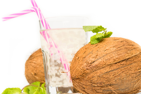 Aloe vera coconut juice with pieces of coconut