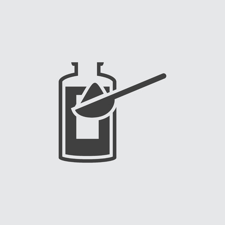 dosage: Bottle and spoon icon illustration isolated vector sign symbol Illustration