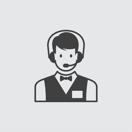 call centre: Call centre icon illustration isolated vector sign symbol