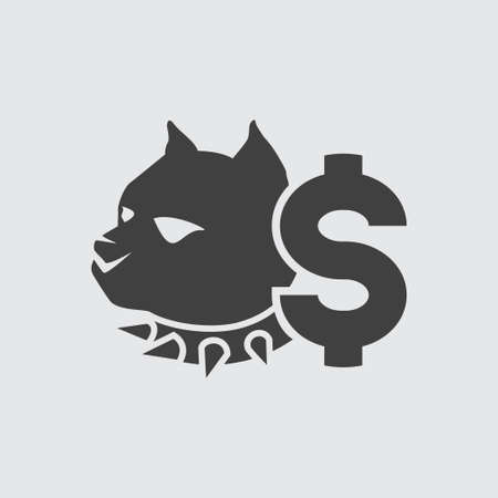 bet: Dog fighting bet icon illustration isolated vector sign symbol