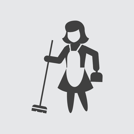 sweeping: Sweeping maid icon illustration isolated vector sign symbol