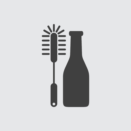 dirty house: Bottle cleaning brush icon illustration isolated vector sign symbol Illustration