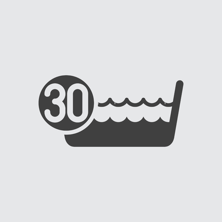 laundry care symbol: Wash below or at 30 degrees icon illustration isolated vector sign symbol