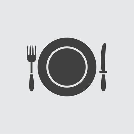 fork knife: Fork, knife and plate icon illustration isolated vector sign symbol Illustration