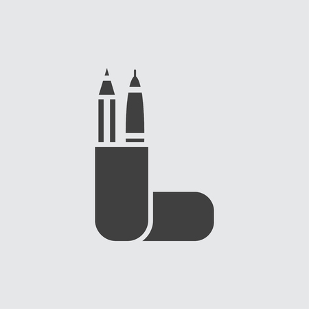 writing instruments: Pencil case icon illustration isolated vector sign symbol Illustration