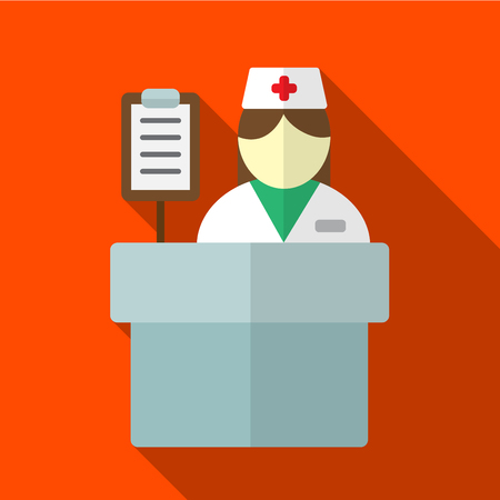 reception desk: Hospital reception desk flat icon illustration isolated vector sign symbol