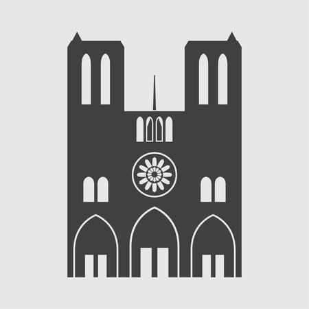 dame: Notre Dame de Paris icon illustration isolated vector sign symbol