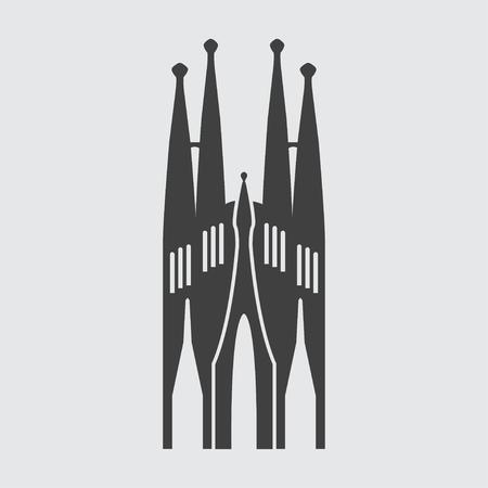 basilica: Sagrada Familia icon illustration isolated vector sign symbol