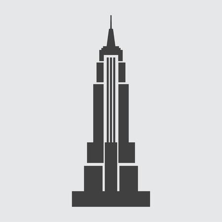 엠파이어 스테이트 빌딩 (Empire State Building) 아이콘 일러스트 레이 션에 고립 된 벡터 상징 서명 일러스트