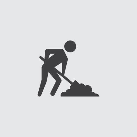 digging: Digging man icon illustration isolated vector sign symbol Illustration