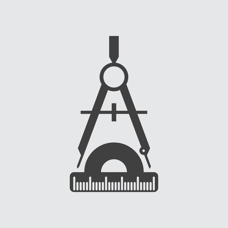 protractor: Compass and protractor icon illustration isolated vector sign symbol