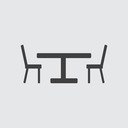 patio chair: Chair and table icon illustration isolated vector sign symbol Illustration