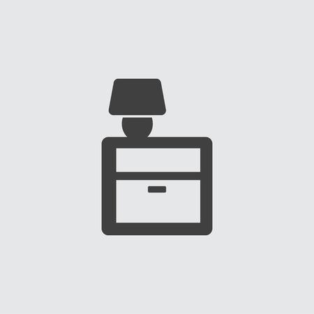 nightstand: Lamp on nightstand icon illustration isolated vector sign symbol Illustration