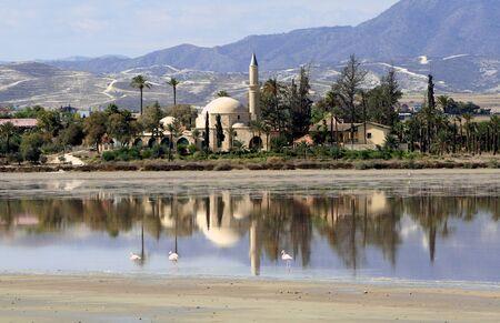 historical reflections: Hala sultan tekke in Larnaca, Cyprus Stock Photo