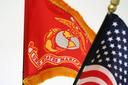 USA and marine corps flags Stock Photo