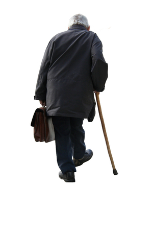 Old man holding a suitcase walking away - on white background (isolated) photo