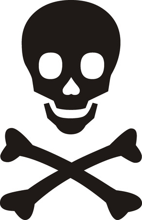 skull with crossbones: Pirates symbol, black skull with bones on white background