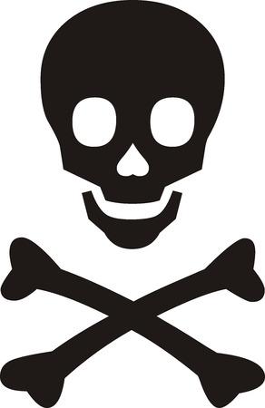 danger skull: Pirates symbol, black skull with bones on white background