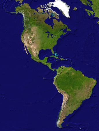 south america: Mapa del continente americano - vista de sat�lite