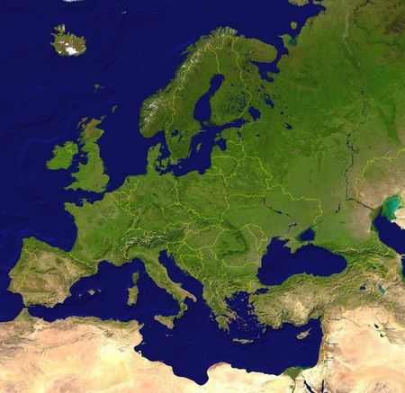 European map (a satellite view) with borderlines, capitals and big cities photo
