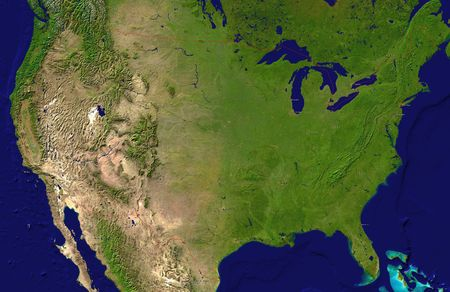 new york map: A satellite map of USA and neighboring countries with the main cities
