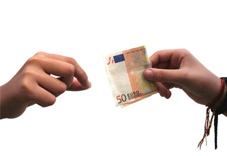 50 euro: Human hand giving a 50 euro banknote to another hand on white background
