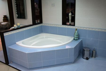 Modern bath with some decorative objects photo