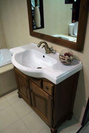 shelve: Luxury bathroom with wooden shelve Stock Photo