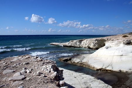 Rocky coast in the island of Cyprus photo