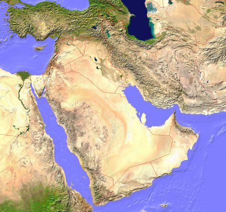 nile: Middle East satellite map with borderlines