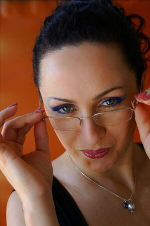 sexy secretary: Very pretty Sexy Secretary removes her Glasses Stock Photo