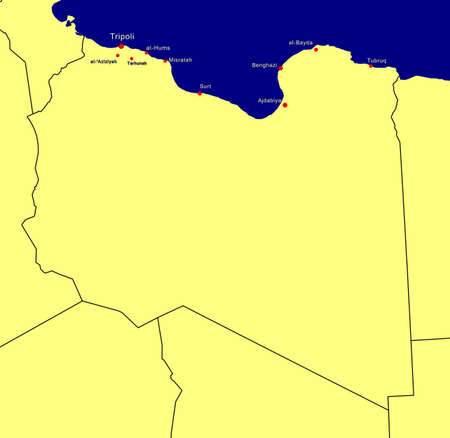 Map of Libya including main cities photo