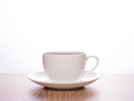 Tea in a plain white cup and white background Stockfoto
