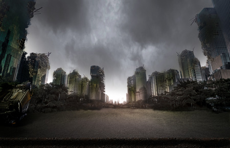 City destroyed by war 스톡 콘텐츠
