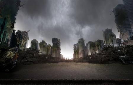 Stad verwoest door de oorlog