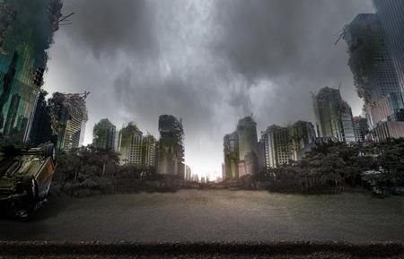 City destroyed by war Archivio Fotografico