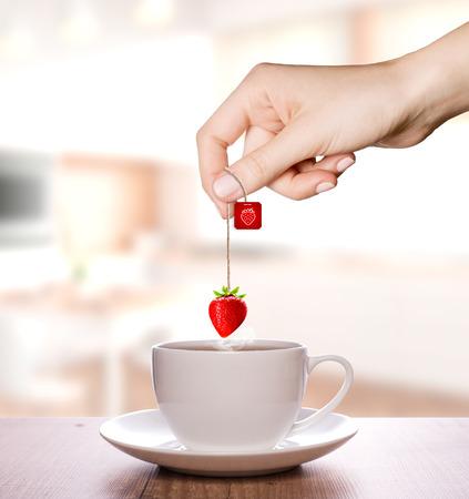 Strawberry tea in a plain white cup | Fruit Tea