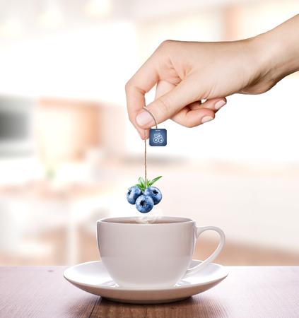 Blueberry tea in a plain white cup | Fruit Tea