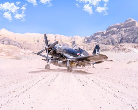 World war II military airplane taking off in the desert