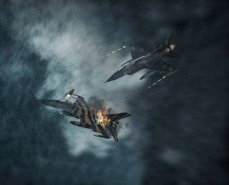 Aerial combat in the clouds and ejecting pilot