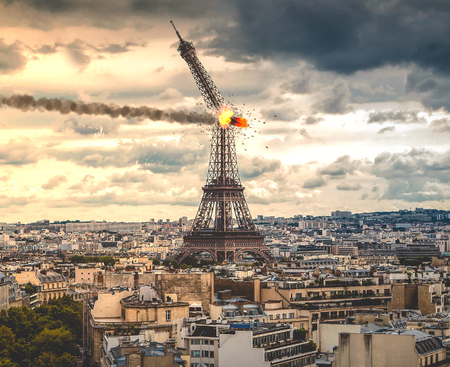 Apocalypse Paris | Eiffel Tower Destroyed Stock Photo
