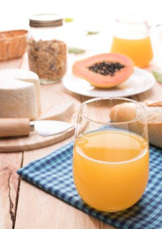 Traditional healthy breakfast with orange juice Фото со стока